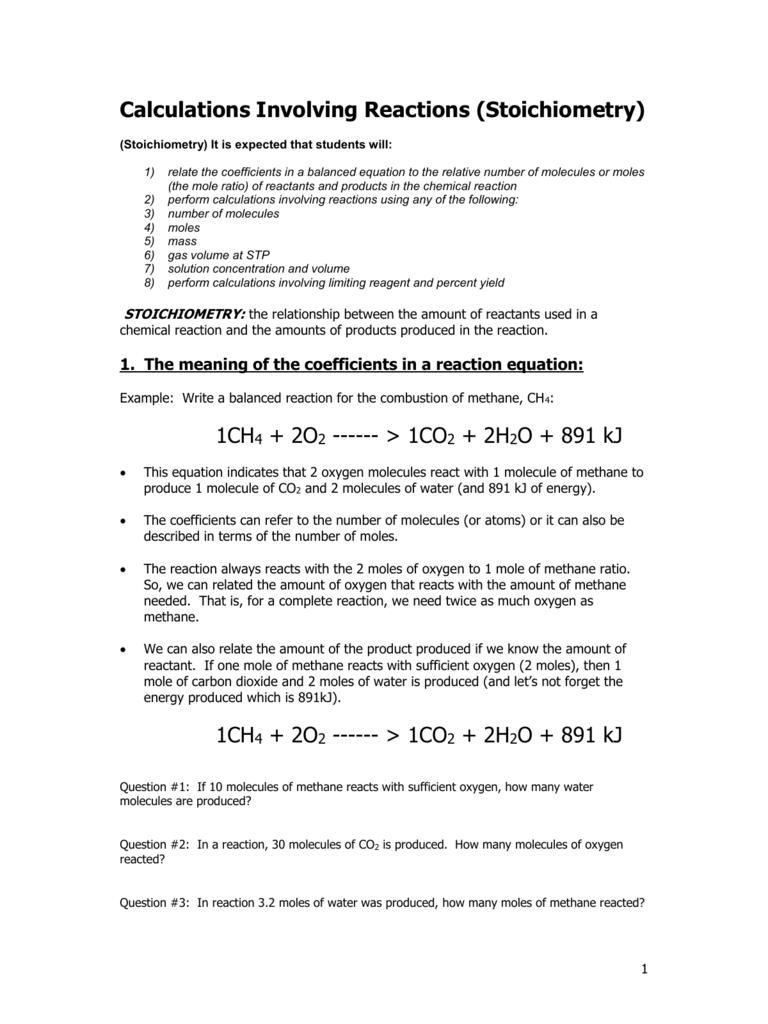 Calculations Involving Reactions (Stoichiometry)