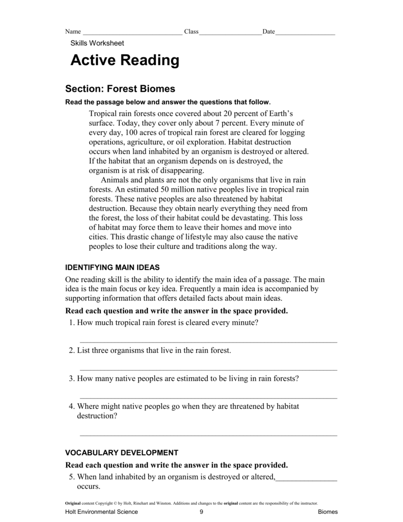Workbooks worksheets on biomes : Active Reading: Forest Biomes