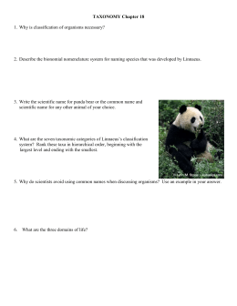 Biomes and Taxonomy Study List