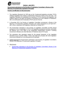 Govt submission on review of fundamental legislative principles