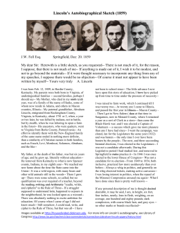 Lincoln`s Autobiographical Sketch (1859)