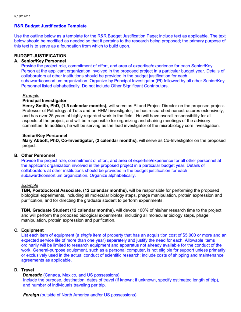 NIH Budget Justification Template