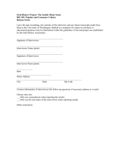Oral History Release Form - University of Washington