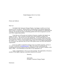 Sample Electee Letter to Lee Jones