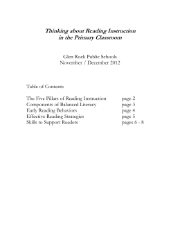 The Five Pillars of Reading Instruction and