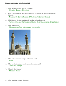 Russia and Central Asia Culture Worksheet Key