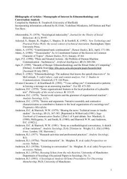 Bibliography Ethnomethodology and Conversation Analysis