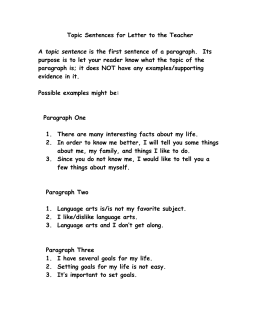 example of paragraph with topic sentence