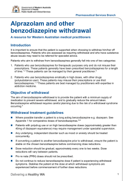 Alprazolam and other benzodiazepine withdrawal