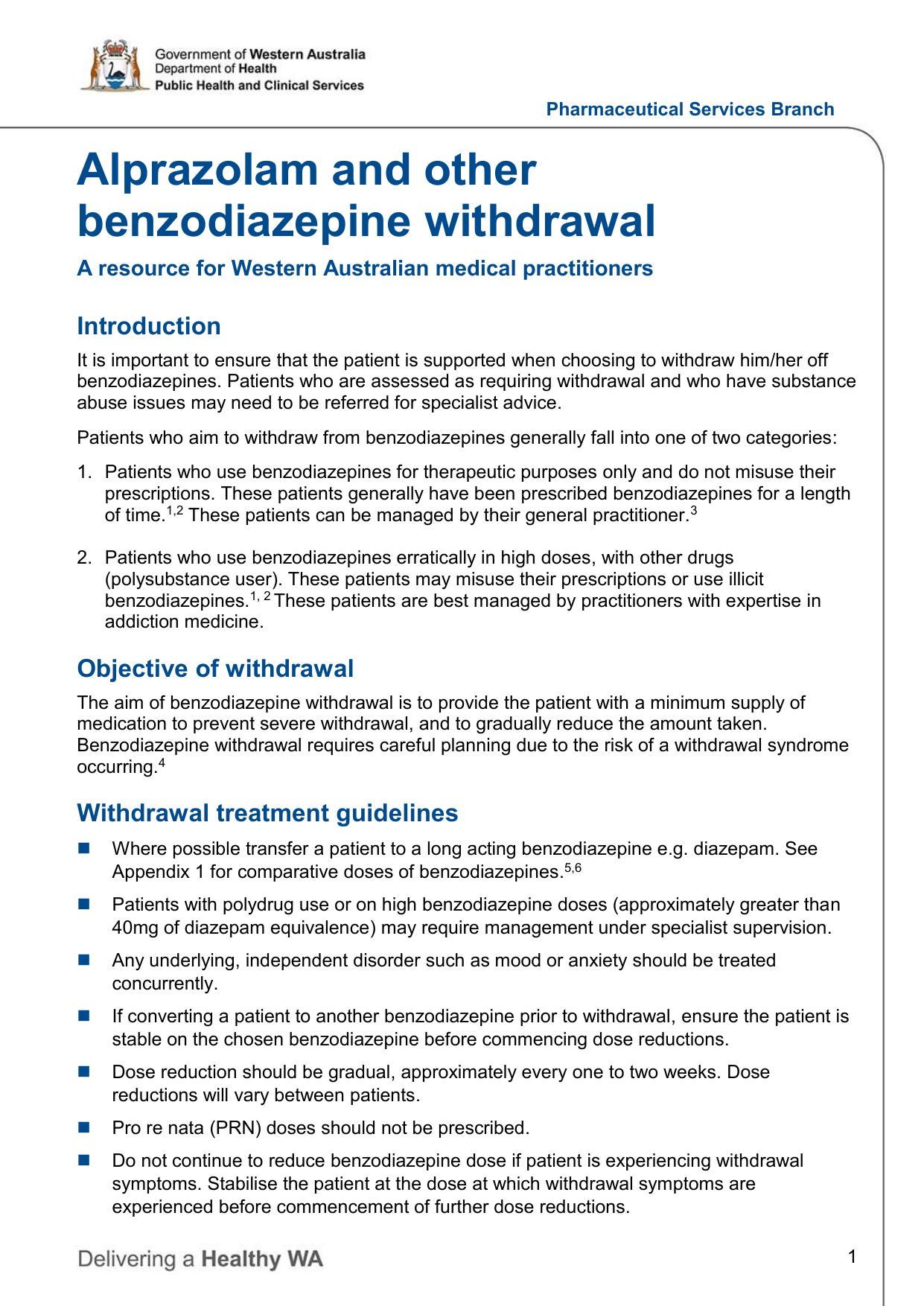 Alprazolam and other benzodiazepine withdrawal
