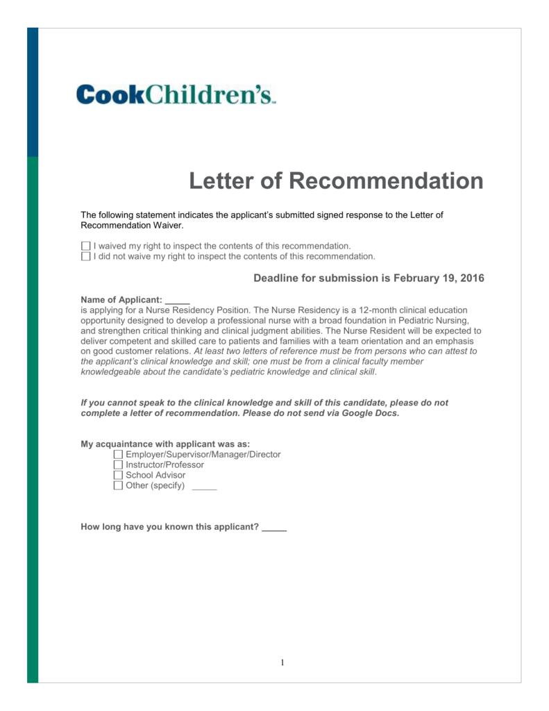 Nurse residency letter of recommendation spiritdancerdesigns Gallery