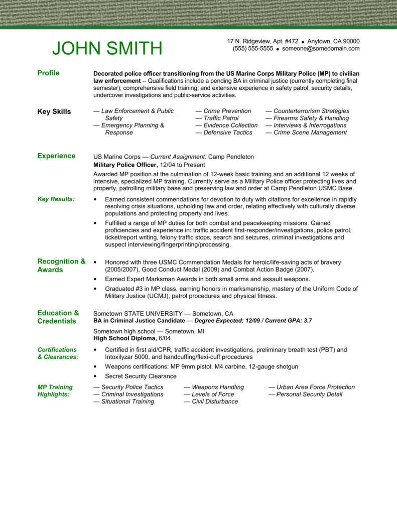 sample resume for a military