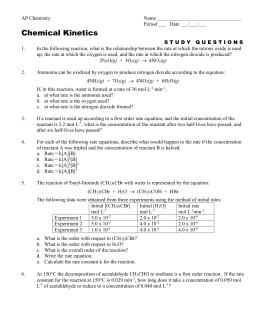 Rate Law Worksheet 2