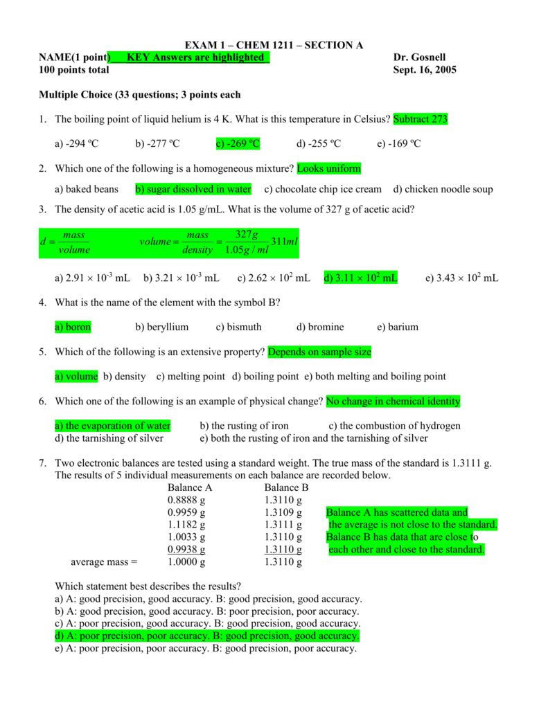 Exam 1 chem 1211 section a biocorpaavc