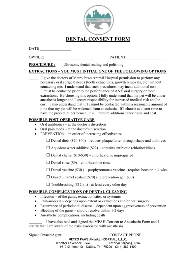 Dental consent form metro paws animal hospital thecheapjerseys Images