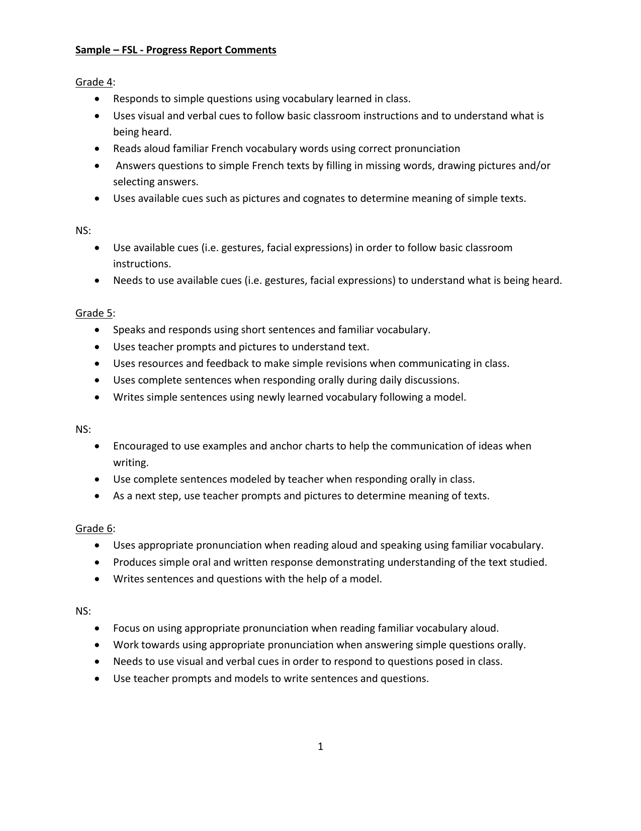 Writing progress reports for students
