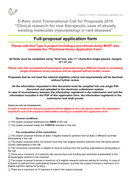Full Proposal Application Form - Agence Nationale de la Recherche