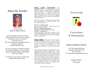First Grade Brochure - Salem Lutheran School