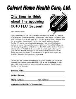 Time to think about the upcoming FLU Season