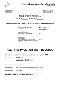 Membership Renewal Form - Deer Industry Association of Australia