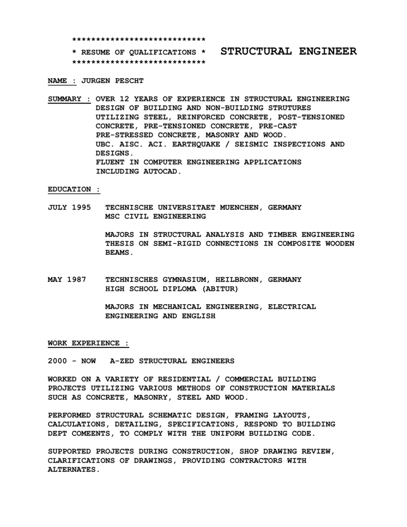 Beautiful Timber Engineering Resume Composition - Administrative ...