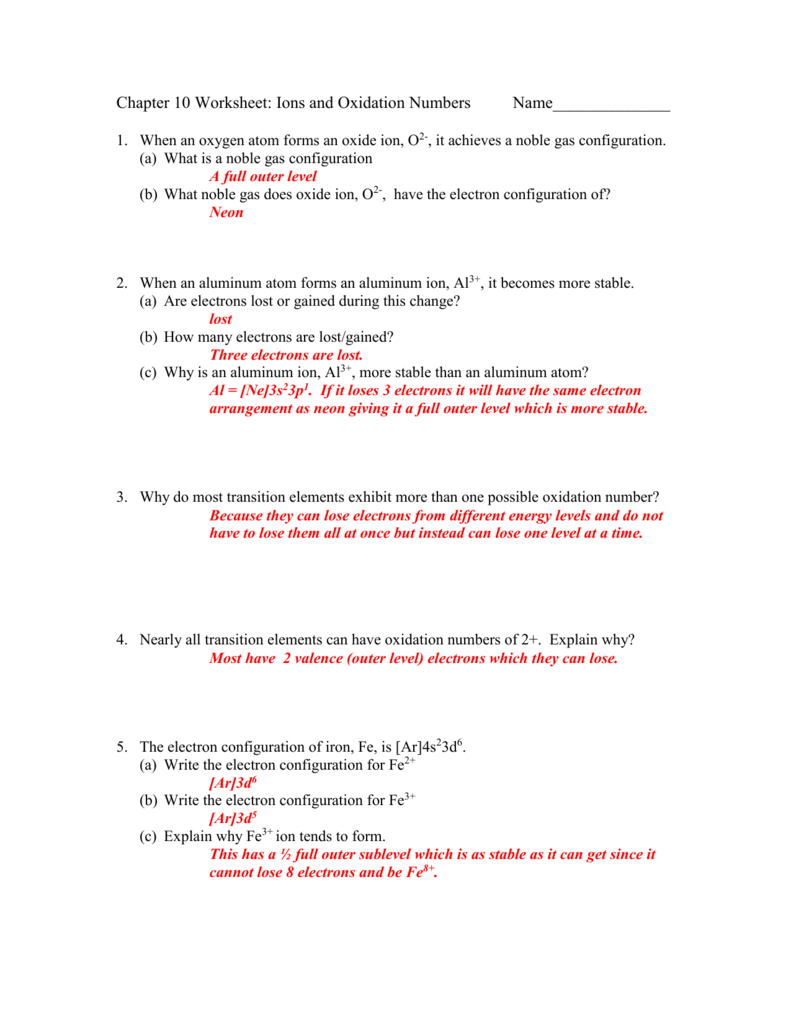 Chapter 10 Worksheet Ions And Oxidation Numbers
