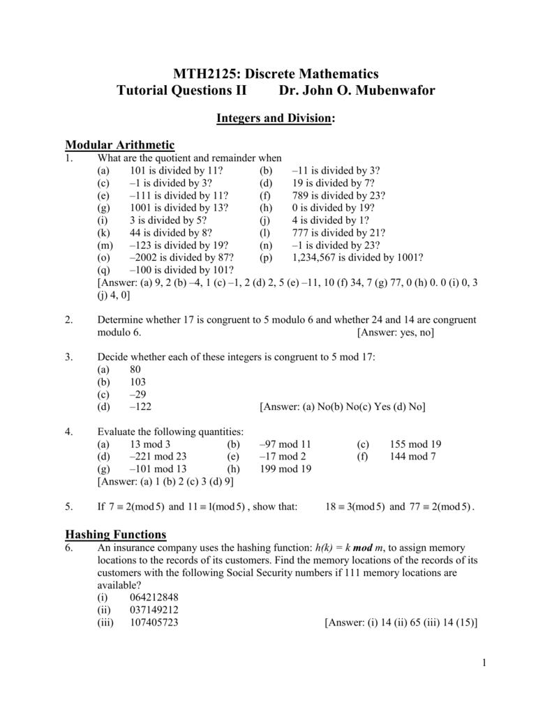 MTH2125: Discrete Mathematics Tutorial Questions II Dr  John O