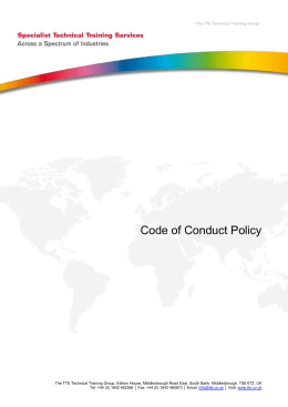 Code of Conduct Policy - TTE Technical Training