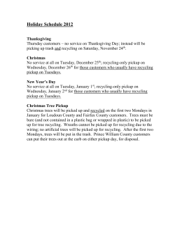 Holiday Schedule: - Patriot Disposal