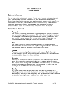 2003-2004 Sabbatical Proposal as Accepted by MVNU`s