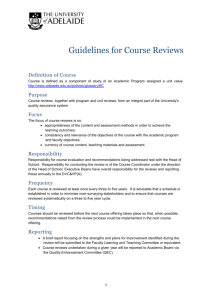Guidelines for Course Reviews