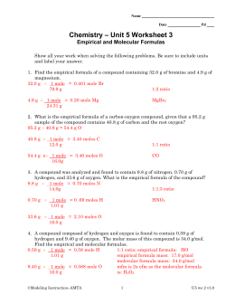 Worksheets Molecular Formula Worksheet Answers empirical formulas and molecular formulas