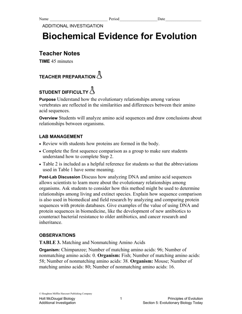 Worksheets Evidence For Evolution Worksheet pictures biochemical evidence for evolution worksheet toribeedesign ch 10 lab