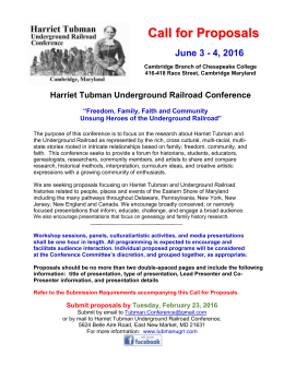 Call for Proposals - Harriet Tubman Underground Railroad