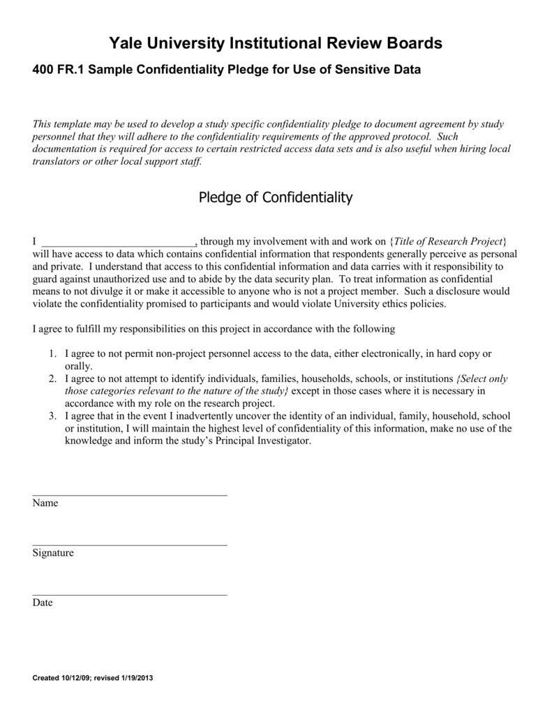 Confidentiality Pledge Template