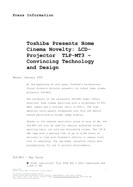 Press Information Toshiba Presents Home Cinema Novelty: LCD