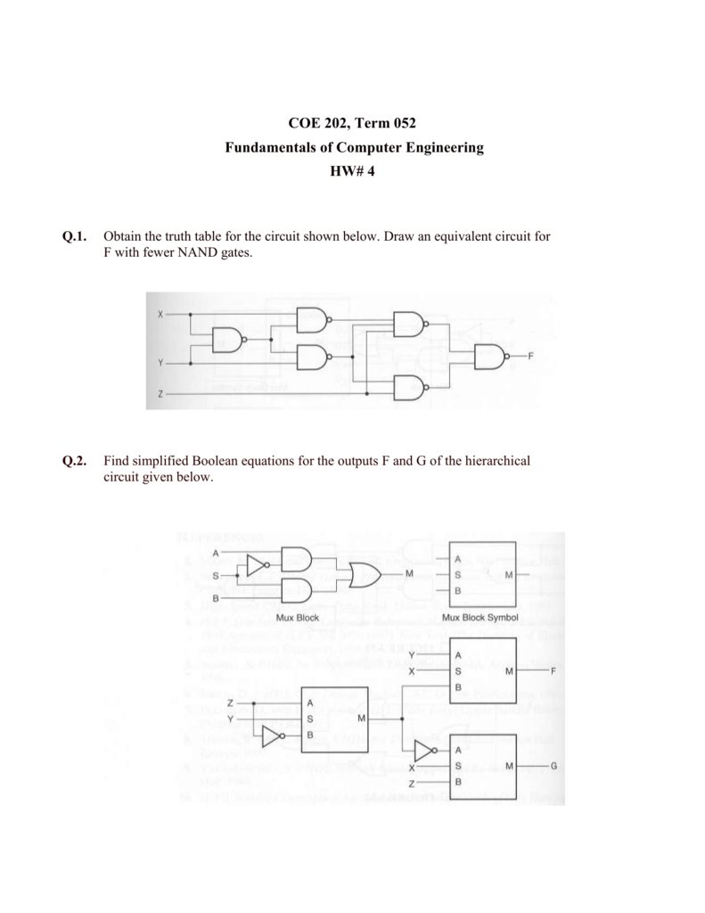 Q3 Find The Truth Table For Outputs F And G Of Hierarchical Encoder Logic Diagram