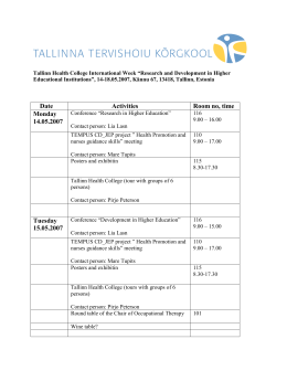"Tallinn Health College International Week ""Research and"