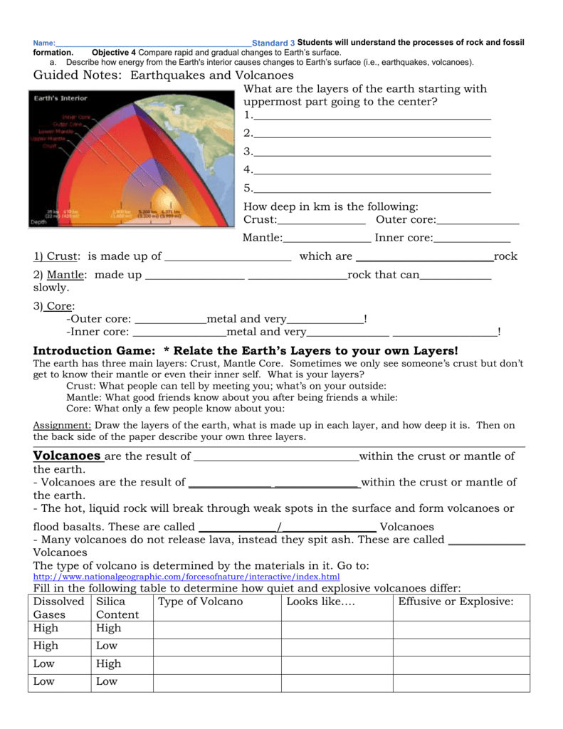 worksheet Earthquakes And Volcanoes Worksheet earthquakes volcanoes packet