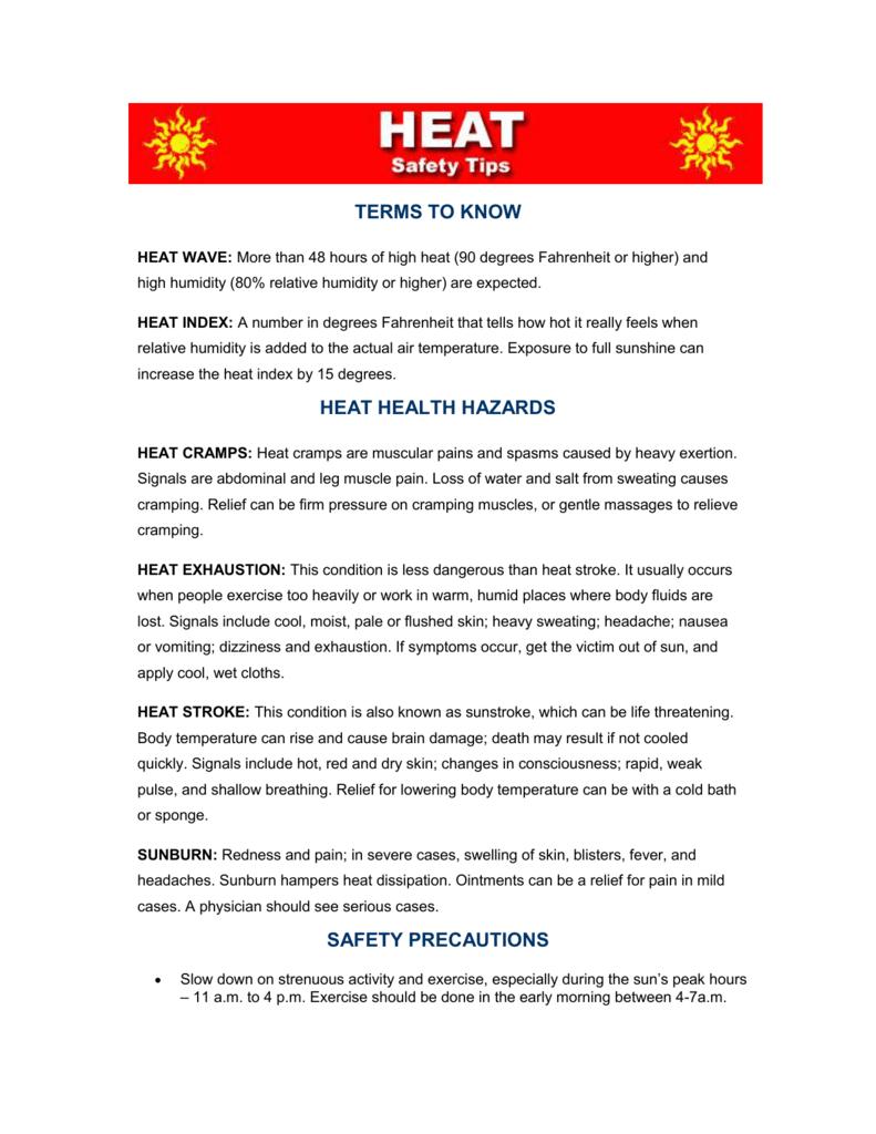 heat health hazards - Warren County Department of Public Works