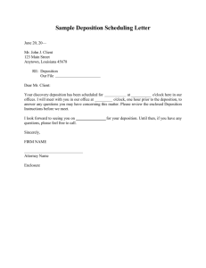 Sample Deposition Scheduling Letter