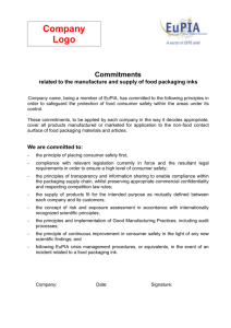 Compliance Commitments related to the manufacture and