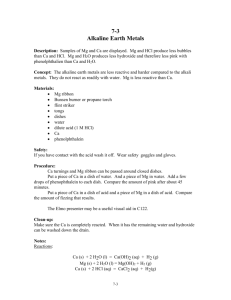7-3 Alkaline Earth Metals