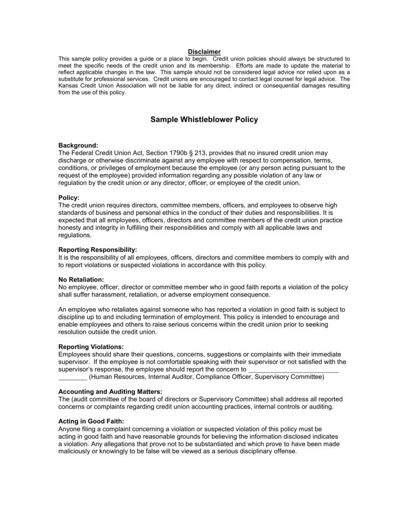 Sample Whistleblower Policy - Kansas Credit Union Association