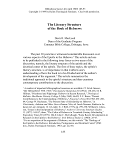 The Literary Structure of the Book of Hebrews