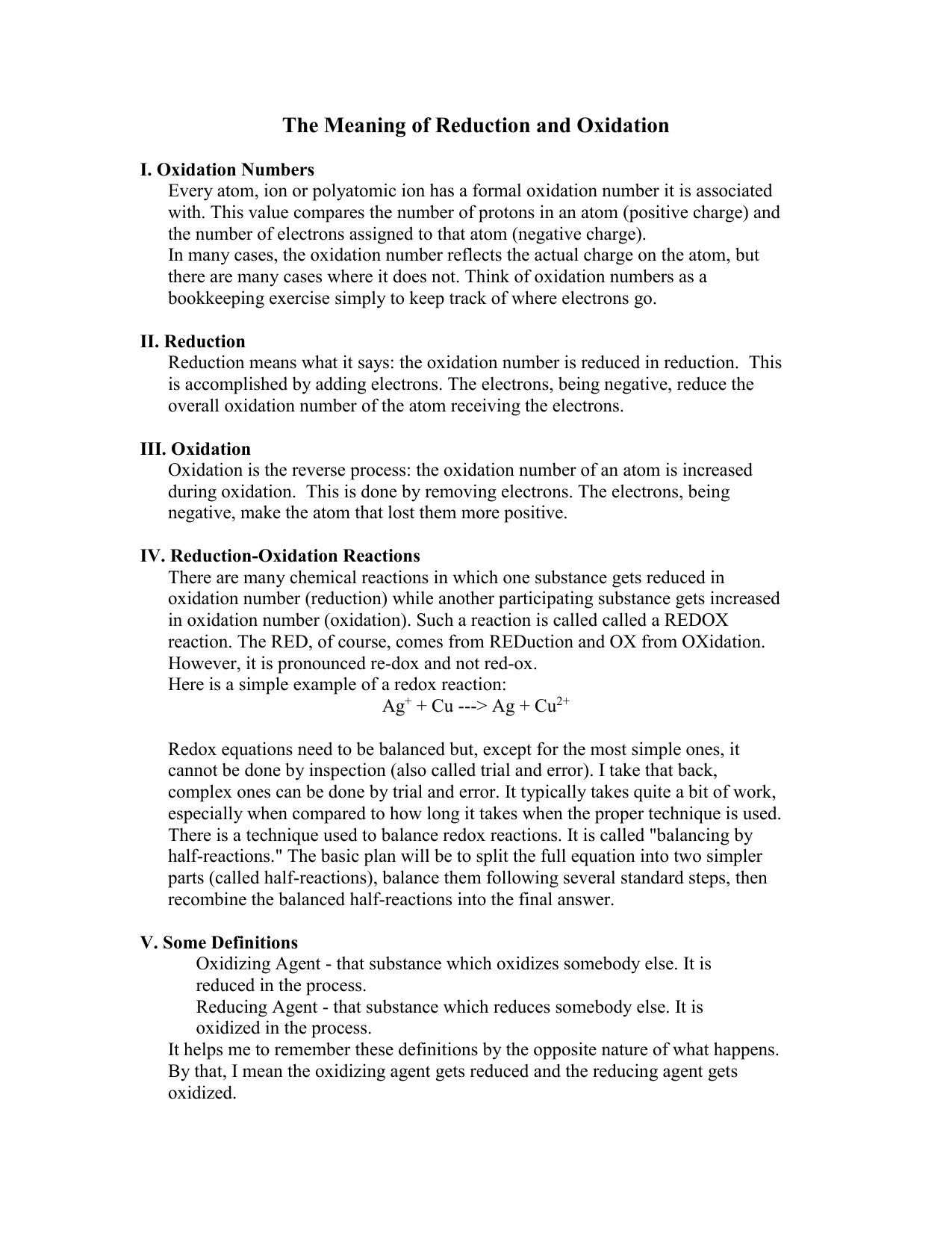 Oxidation Reduction 16 Page Guide