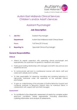 Assistant Psychologist Job Description