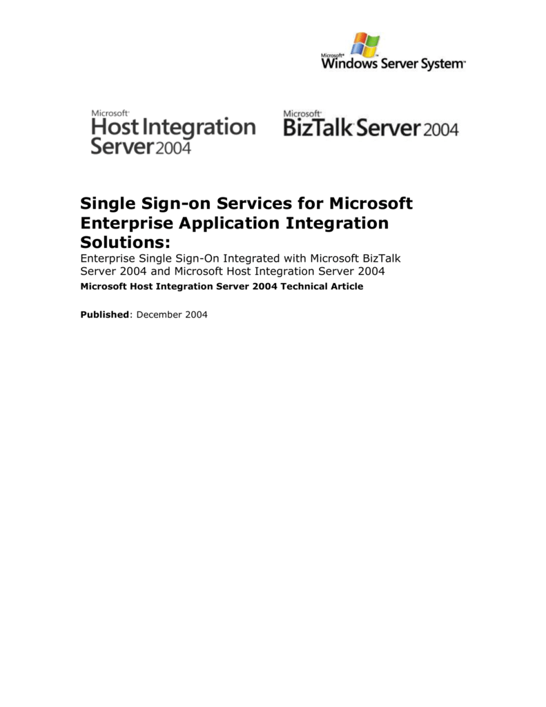Single Sign-on Services for Microsoft Enterprise Application