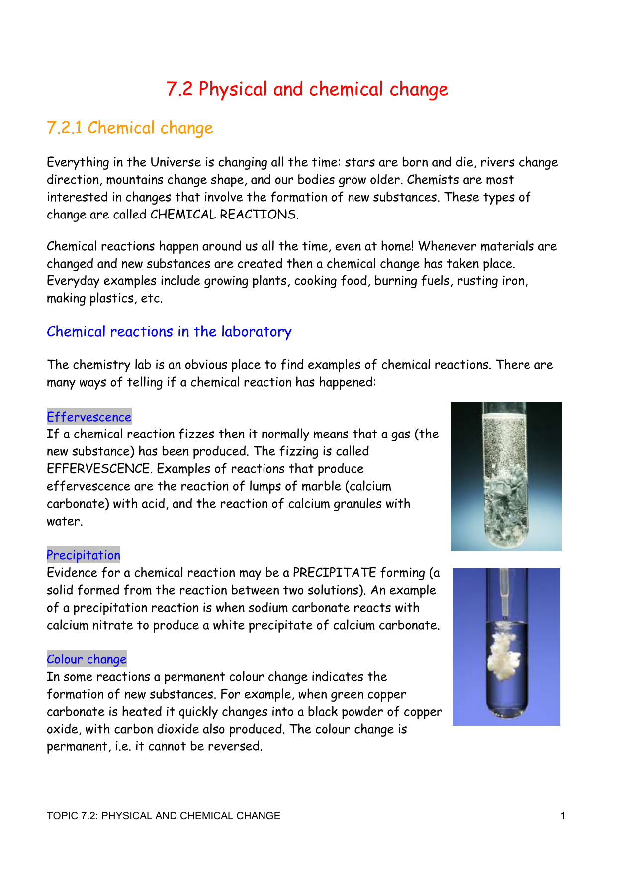 7.2 Physical & Chemical Changes