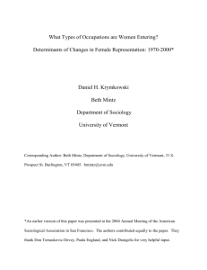 What Types of Occupations are Women Entering